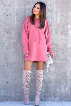 Lace Up Sweatshirt Dress - Mauve