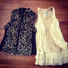 Thrifted Chicos animal print vest-NWT Mine dress // goodwill