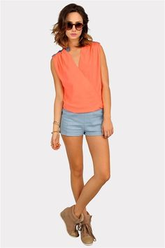 shorts, tangerine, booties.  sumer fever is in full effect.
