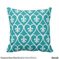 Turquoise Heart Fleur De Lis