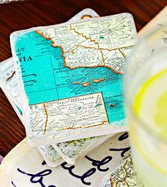 Colorful map coasters are a quick and easy DIY project that will showcase some of your favorite spots! (via @Better Homes and Gardens www.bhg.com)