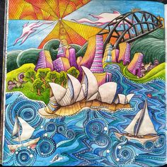 Sydney Harbour With Inktense Pencils In Lizziemarycullen Themagicalcity This Is One Of