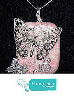 Pendant Necklace, pink and beige Ocean Jasper Gemstone with Tibetan Silver Butterflies. from Andrea Lapins Art https://www.amazon.com/dp/B01GUNAST8/ref=hnd_sw_r_pi_dp_fvYzxb7GSPWNM #handmadeatamazon