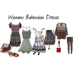Womens Bohemian Dresses by mogulinteriordesigns on Polyvore featuring Abercrombie & Fitch, Missguided, Mavi, Mulberry, Mudd and Clinique