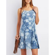 Charlotte Russe Strappy Floral Skater Dress ($35) ❤ liked on Polyvore featuring dresses, chambray, charlotte russe, baby doll dress, skater dress, blue flare dress and floral skater dress