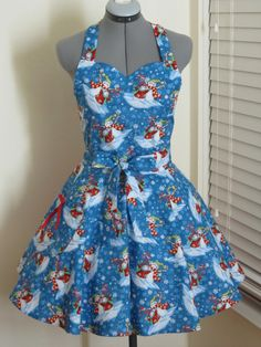 Its the Snowmen Apron  With a little red bow  by AquamarCouture, $37.00