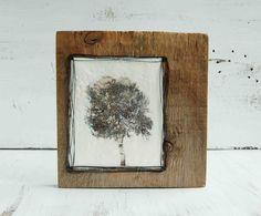 One TREE - Original Encaustic Wax Painting on Reclaimed Wood.