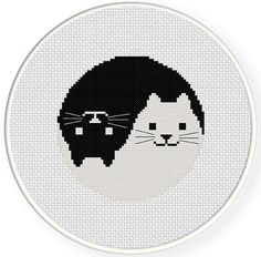 Yin Yang Cat PDF Cross Stitch Pattern Needlecraft - Instant Download - Modern Chart