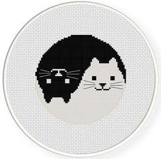 INSTANT DOWNLOAD Stitch Yin Yang Cat PDF Cross door DailyCrossStitch