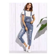 SheIn(sheinside) Blue Ripped Bleach Wash Overall Jeans ($26) ❤ liked on Polyvore featuring jeans, blue, bleached distressed jeans, blue jeans, destruction jeans, bleached jeans and destroyed jeans