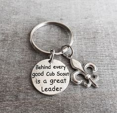 Behind every good CUB SCOUT is a great LEADER, Boy Scout, Scout Den Leader, Den Mother, Thank you, Gifts, Silver Keychain, Silver Keyring