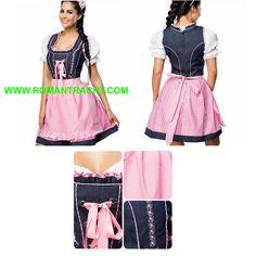 Dirndl Kleid. 100% Baumwollgewebe mit Jeans-Art-Qualitäts-Stich. Besuchen Sie uns: WWW.ROMANTRACHT.COM