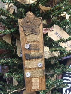 Primitive Christmas Tree Early Sampler Mini Sign Repurposed Wood FREE SHIP #NaivePrimitive