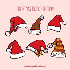 Christmas hat collection in hand drawn style Free Vector