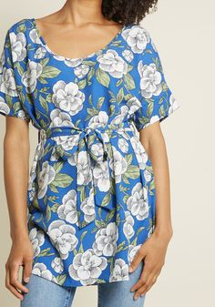 Medium Format Memory Tunic in Blue Floral in XS - Short Sleeve Regular Long Floral Tunic, Long Blouse, Trendy Tops, Stylish Dresses, Blouses For Women, Women's Blouses, Tunics, Modcloth, Wrap Dress