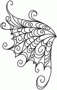 Embroidery Designs at Urban Threads - Delicate Wings. Easily done with royal icing. Embroidery Designs, Quilting Designs, Machine Quilting, Machine Embroidery, Embroidery Stitches, Embroidery Ideas, Colouring Pages, Coloring Books, Stencils