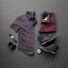 Men's Style Color Combination, Burgundy and Black, Button Down, Chinos, Boots and Classy Watch #boots #menstyle #chinos