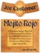 Mojito Rojo is a classically designed custom personalized wine and beer label with an old world feel.