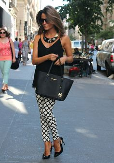 Black and white patterns for the pants, simple black top and statement jewelry  Oh My Looks by Silvia