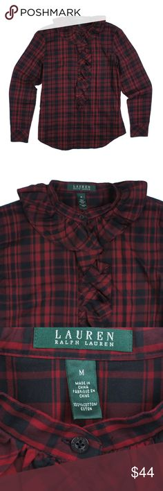 """New RALPH LAUREN Red & Black Plaid Ruffle Shirt Size - M  NWOT - This new red and black plaid button down shirt from LAUREN RALPH LAUREN features ruffle accent detail down the button line, and at the collar.  Made of 100% Cotton.  Measures:  Bust 39"""" Total Length: 26"""" Sleeves: 25"""" Lauren Ralph Lauren Tops Button Down Shirts"""