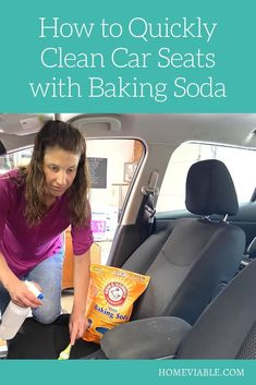 Clean your car seats and interior with this DIY carpet cleaning hack,: baking soda. This all natural product will remove any and all stains fast. #homeviable #bakingsoda #carcleaning Car Interior Upholstery, Cleaning Car Upholstery, Car Cleaning, Cleaning Hacks, Clean Cloth Car Seats, Cleaning Leather Car Seats, Vinegar Cleaning Solution, All Natural Cleaning Products, Seat Cleaner