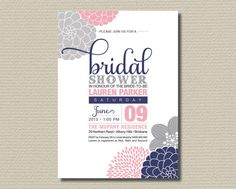 Printable Bridal Shower Invitation - Modern flower design featuring Navy, pink & grey (BR104)