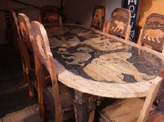 African Dining Room Set Excellent Craftmenship