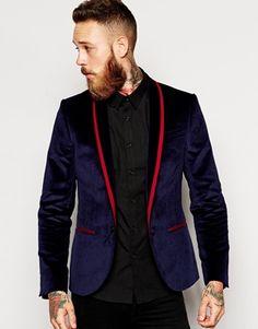 Noose & Monkey Velvet Blazer With Lapel Taping In Skinny Fit