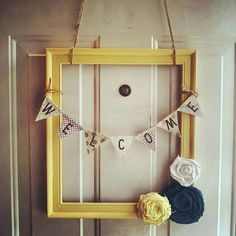 DIY idea - Framed Front Door Welcome Wreath Frame Wreath, Diy Wreath, Door Wreaths, Welcome Wreath, Welcome Decor, Diy Crafts To Sell, Fun Crafts, Front Door Decor, Front Doors