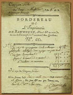 1795  French receipt for printing services.