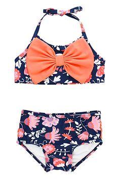 Sun Protection RuffleButts Baby//Toddler Girls Bikini 2-Piece Swimsuit with Bow and Ruffles UPF 50