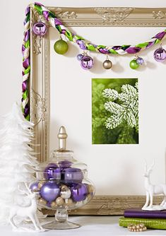 Refined ribbons garland A braided ribbon garland looks sharp draped over framed art. Tie cording at one end of a dozen green, gold and purp. Easy Christmas Crafts, Homemade Christmas, Christmas Art, Christmas Holidays, Christmas Decorations, Christmas Ornaments, Christmas Ideas, Xmas, Holiday Ideas
