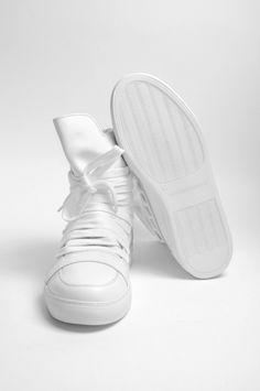 Kris Van Assche multilaces high top white sneakers