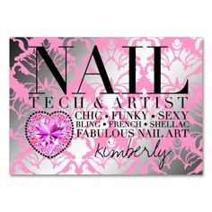 311 Tres Chic Damask Nail Tech Diamond Heart Large Business Cards (Pack Of 100). This is a fully customizable business card and available on several paper types for your needs. You can upload your own image or use the image as is. Just click this template to get started!