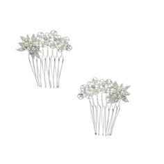 Mini-peignes bouquet en cristaux et perles 2 pièces