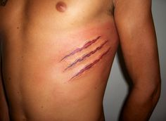 Claw marks. I want this but instead of red, I want brown and black tiger design for my dog