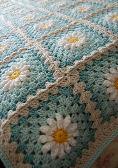 By dailycrochet - September 12th, 2016 So simple, yet so beautiful! This Daisy Blanket by Tillie Tulip, made of 6″ squares, is easy to customize to the size you wish and using the colors to your ...