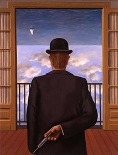 Rene Magritte / 'SPACED ' out on 'something ' when painted this piece , or just a very vivid imagination ?