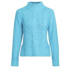 Chiara Chunky Cable Knit Sweater (670 CZK) ❤ liked on Polyvore featuring tops, sweaters, blue sweater, pastel tops, cropped cable knit sweater, cut-out crop tops and cropped sweater