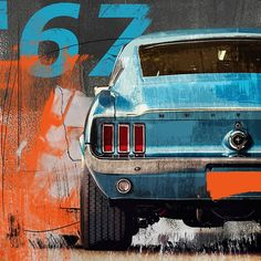 Poster car poster 'Ford Mustang' Poster by Autos Ford, Ford Mustang 1969, Cool Car Drawings, Ford Classic Cars, Classic Camaro, Car Illustration, Car Posters, Automotive Art, Car Painting