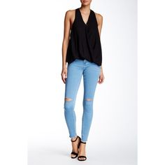 BLANKNYC Denim Skinny Jean ($37) ❤ liked on Polyvore featuring jeans, game changer, distressed skinny jeans, ripped jeans, super skinny jeans, white destroyed skinny jeans and white distressed skinny jeans