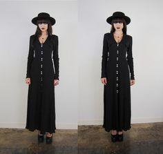 vintage dress 1990's long black ribbed chelsea by youngandukraine, $76.00