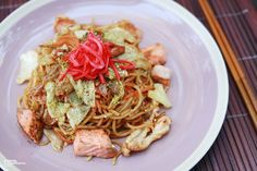Seafood Yakisoba Recipe Details, Seafood, Spaghetti, Japanese, Ethnic Recipes, Sea Food, Japanese Language, Noodle, Seafood Dishes