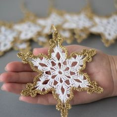 Items similar to crochet snowflakes white gold decor christmas tree ornament christmas decoration hand crochet gold border winter wedding decor white gold on etsy - Crocheted Snowflakes White Gold Christmas Tree Decor - Knit Christmas Ornaments, Crochet Christmas Decorations, Crochet Ornaments, Christmas Knitting, How To Make Ornaments, Crochet Crafts, Handmade Christmas, Tree Decorations, Gold Christmas
