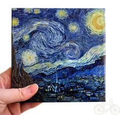 The kids could paint on tiles. Van Gogh's Starry Night Ceramic Tile Hot Plate by PebbleCoveDecor.