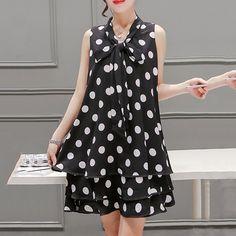 Tie Collar Polka Dots Chiffon Shift Dress | @giftryapp 70s Fashion, White Fashion, Spring Fashion, Vintage Fashion, Fashion Outfits, Swag Fashion, Fashion History, Womens Fashion, Fashion Trends