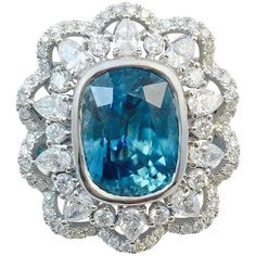 Karina Brez Rare Blue Zircon Diamond Gold Ring | From a unique collection of vintage cocktail rings at https://www.1stdibs.com/jewelry/rings/cocktail-rings/