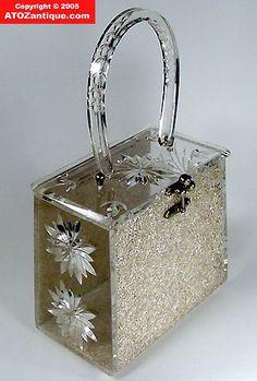 Charles Kahn lucite handbag   Charles S Kahn Lucite Purse Irradiance Glitter