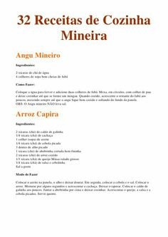 32 Receitas De Cozinha Mineira