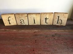 """faith"" Rustic Wood Letter Block Sign"